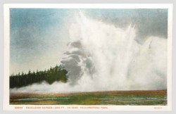 Excelsior Geyser: Excelsior Geyser erupted in a series of violent hydrothermal explosions in the 1880s and early 1890s; one of these eruptions is shown in this colorized postcard made from a photograph. These were the largest such events to occur in the Yellowstone region in historical times. (Original photograph by F. Jay Haynes, 1888; date on postcard is incorrect.)